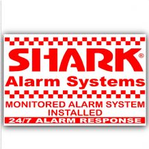 1 x Shark Property Protected Stickers-Red On White-Monitored Alarm System for-24hr Security Response Warning Signs for House,Home,Flat,Business,Unit,Property